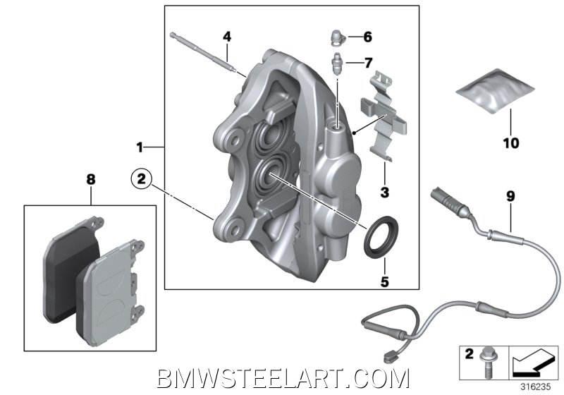 Front brake pad wear sensor34_2012